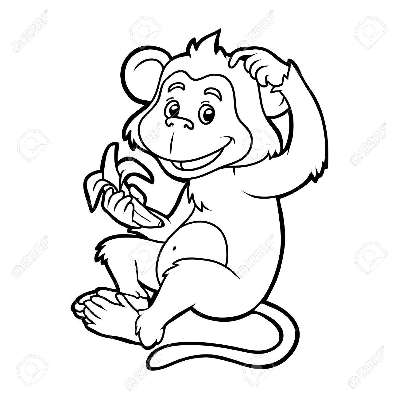 Libro Para Colorear Para Niños El Mono Con Un Plátano