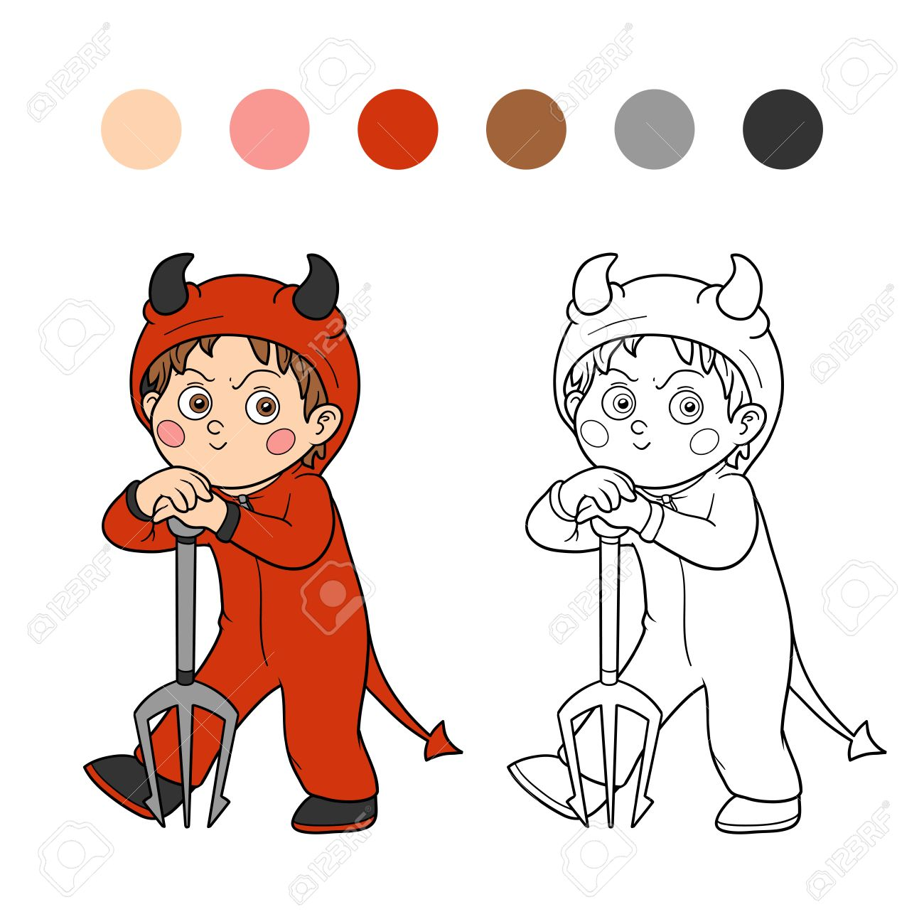 Co coloring books game - Co Coloring Book Pictures Of Halloween Coloring Book Game For Children Halloween Character Devil Stock