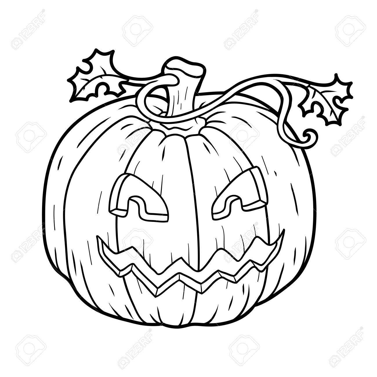 Libro Para Colorear Para Niños: Calabaza De Halloween Ilustraciones ...
