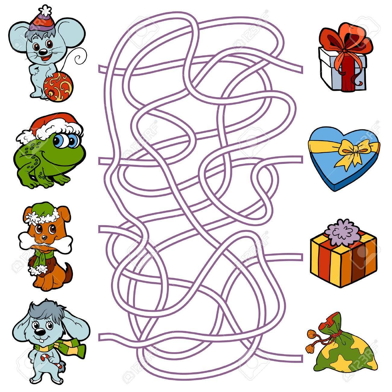 Regalos Para Ninos Pequenos.Juego De La Educacion Laberinto Para Ninos Pequenos Animales Y Los Regalos De Navidad