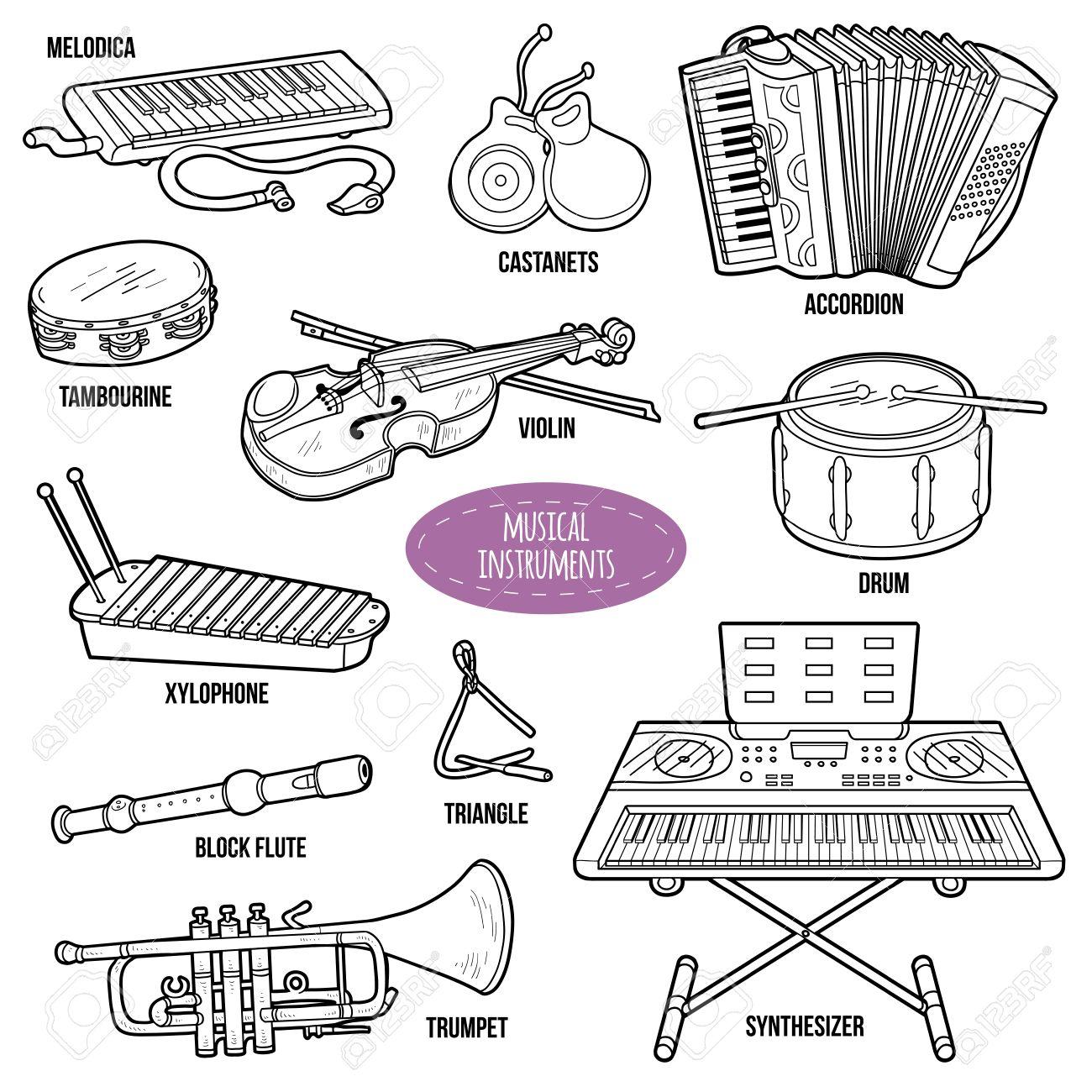 Conjunto Incoloro Con Instrumentos Musicales, Colección De Dibujos