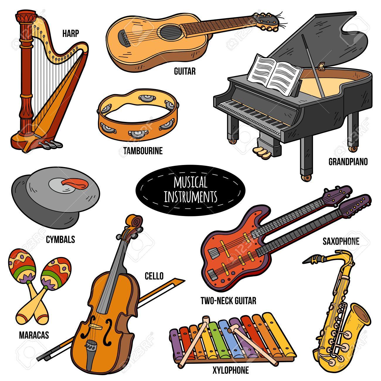 Color Fijó Con Instrumentos Musicales Pegatinas De Dibujos Animados