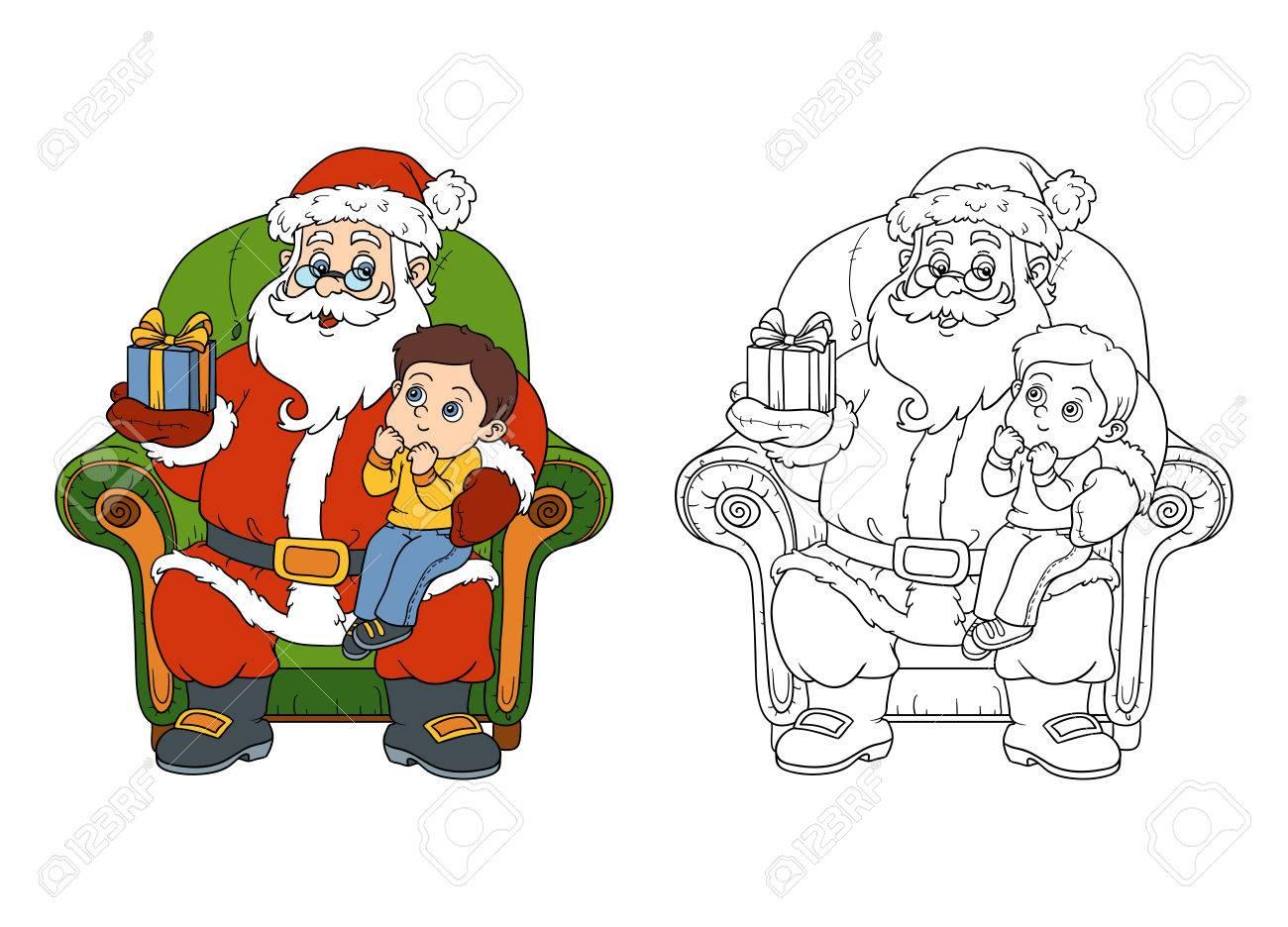 Bambini Babbo Natale Disegno.Vettoriale Libro Da Colorare Giochi Per Bambini Babbo Natale Da Un Regalo Un Bambino Image 47453725