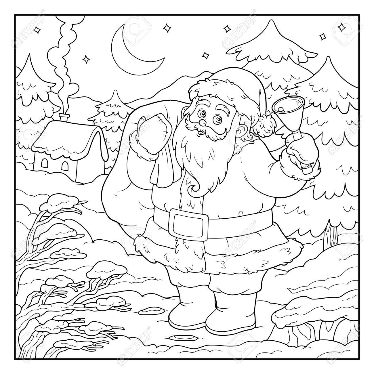 Coloring Book, Game For Children: Santa Claus And Night Forest ...