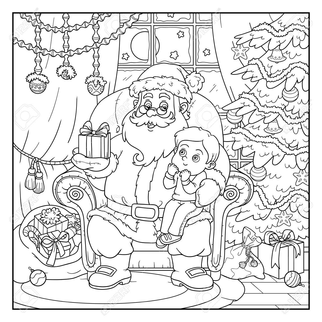 Immagini Da Colorare Babbo Natale.Libro Da Colorare Giochi Per Bambini Babbo Natale Da Un Regalo Un Bambino