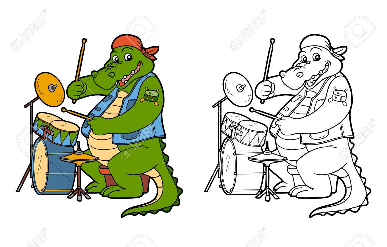 Coloring Book For Children: Music Band (crocodile And Drum) Royalty ...
