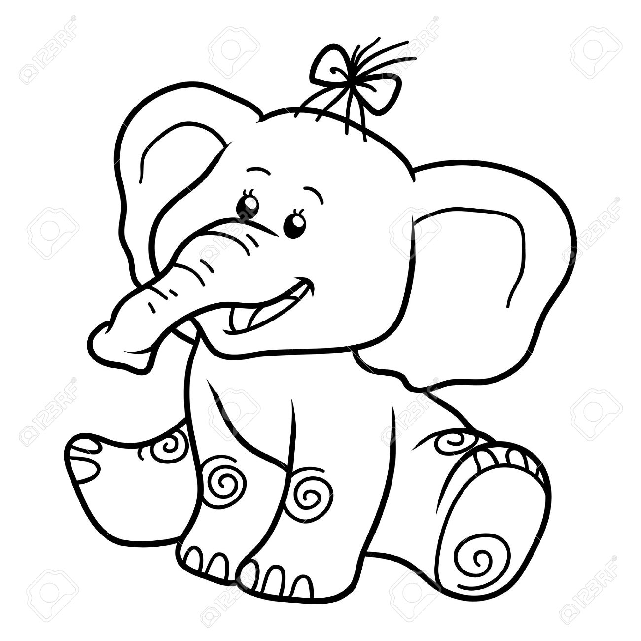 Coloring Book For Children, Education Game: Elephant Royalty Free ...