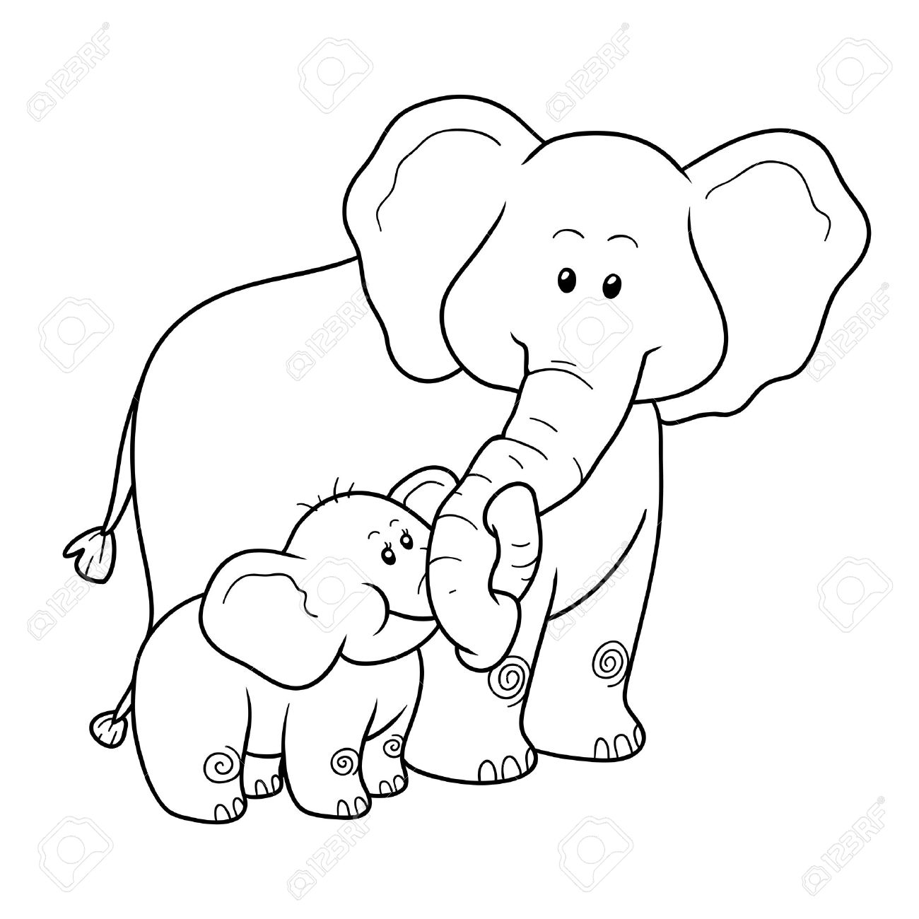 Coloring Book For Children Education Game Elephants Stock Vector