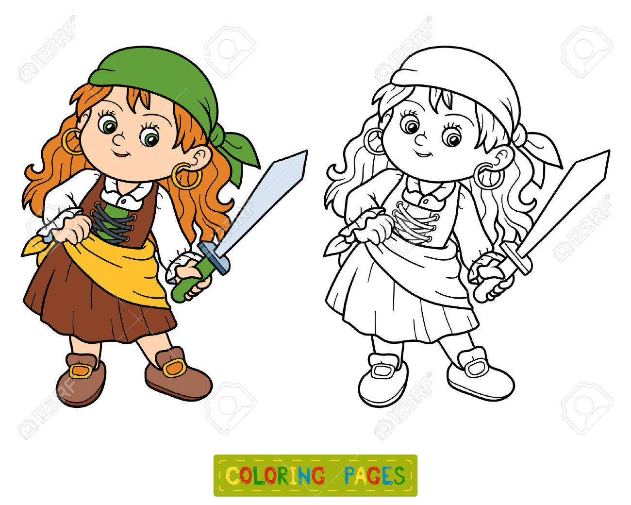 Libro Para Colorear, Juego Educativo Para Niños (niña Pirata ...