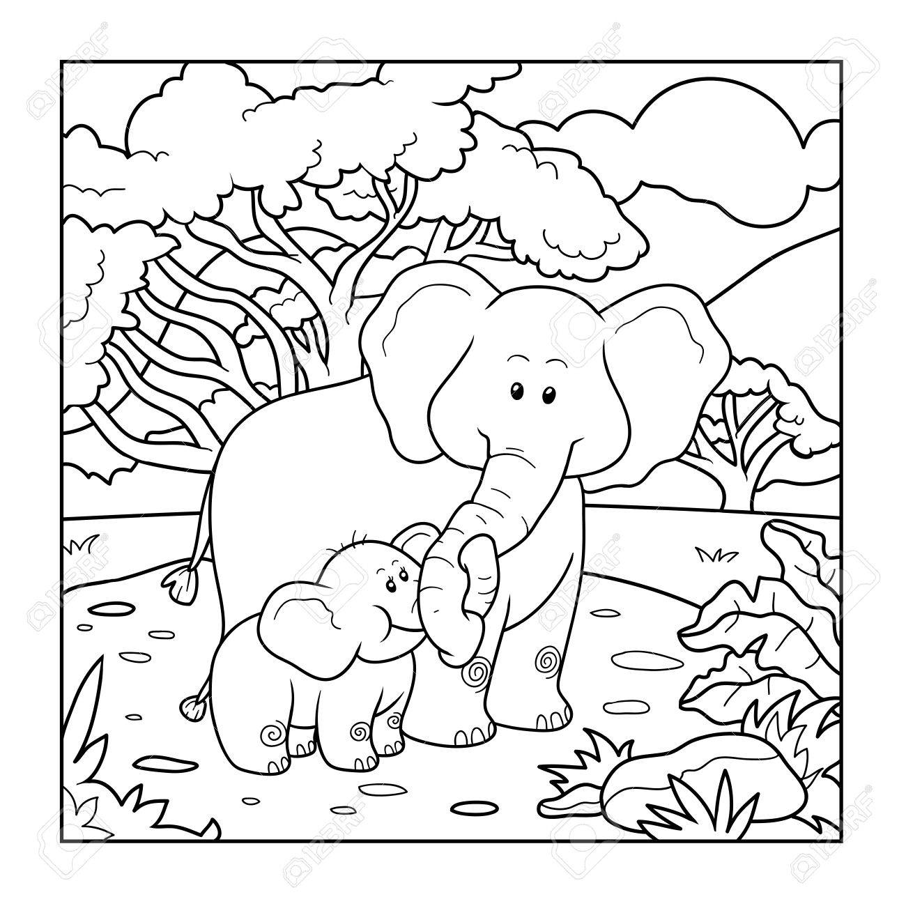 coloring book for children two elephants and background stock vector 49794165 - Children Coloring Book