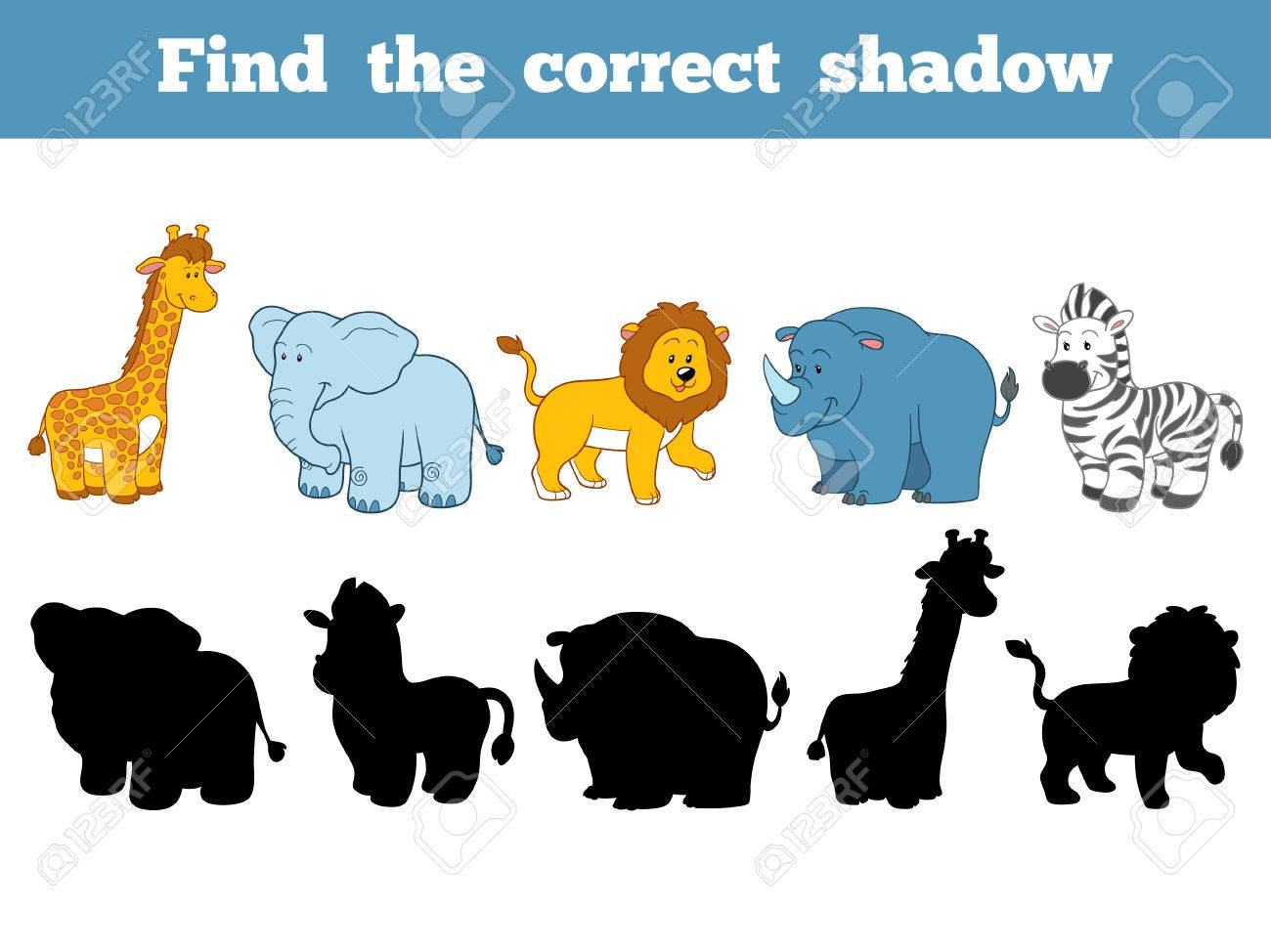 Find the correct shadow, education game for children (safari