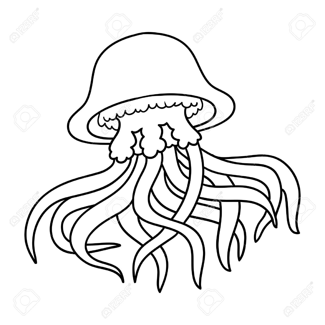 Coloring Book For Children Jellyfish Stock Vector