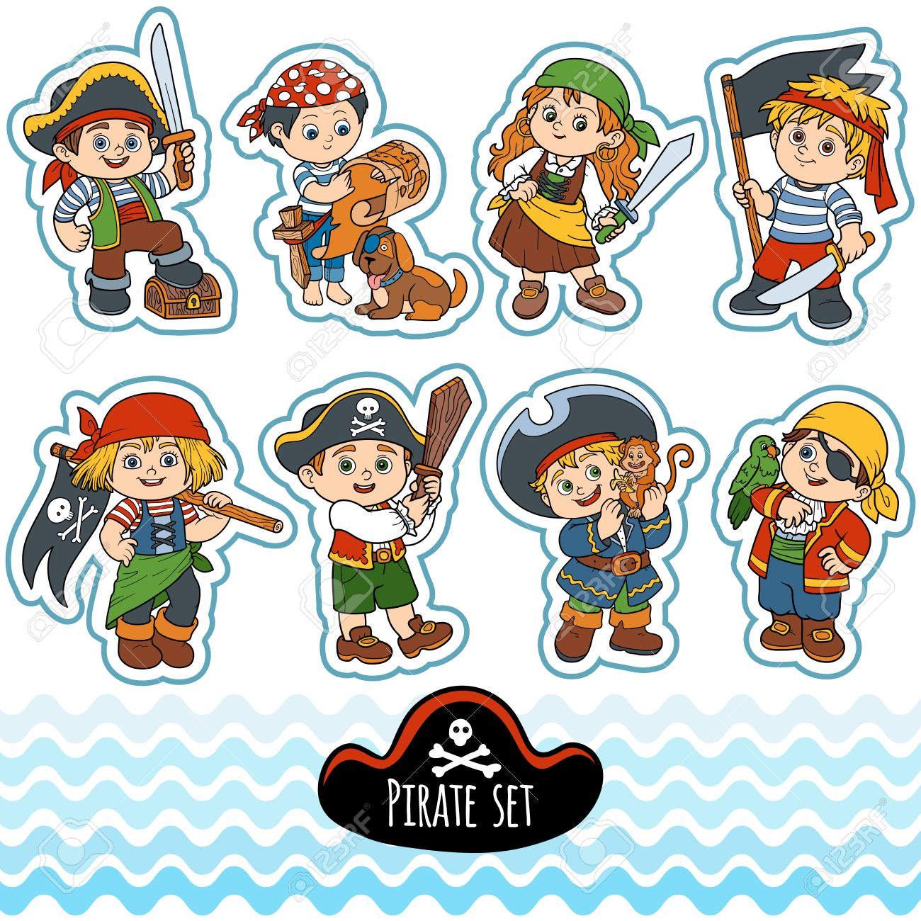Vector Set Of Characters Pirates, Color Cartoon Collection Royalty ...
