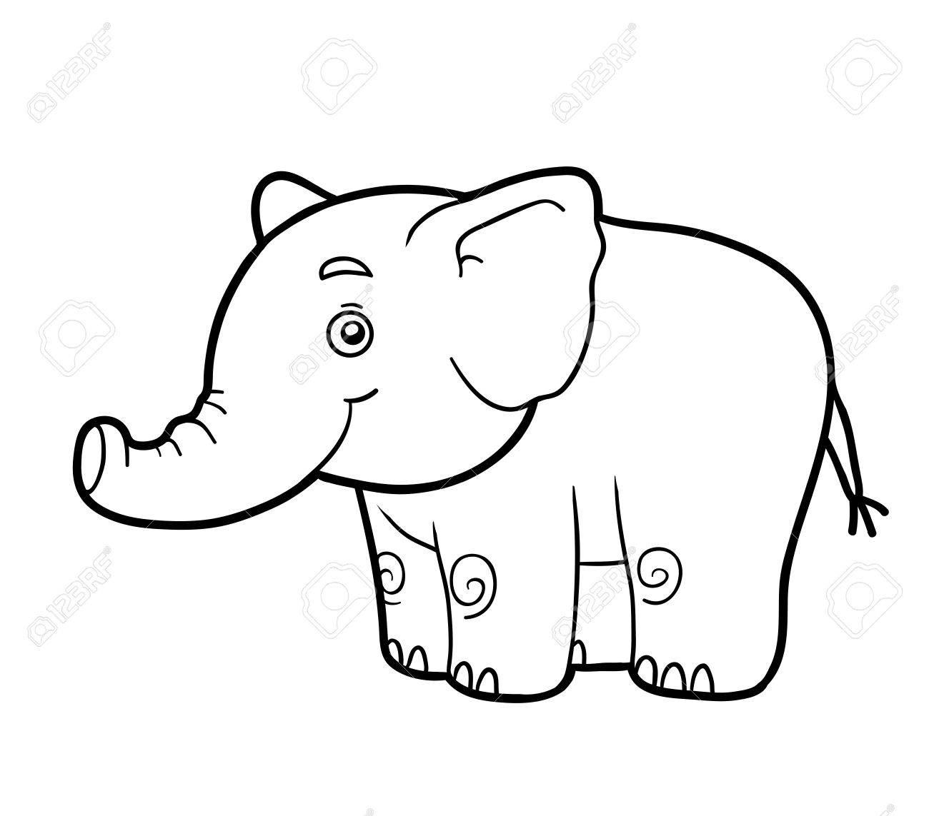 Coloring Book For Children (elephant) Royalty Free Cliparts, Vectors ...