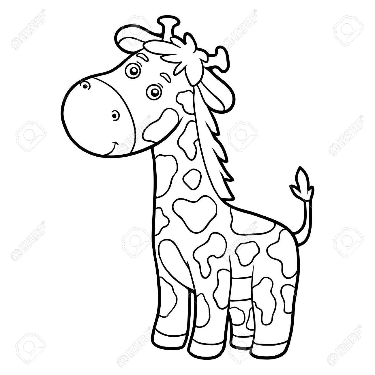 Libro Para Colorear Para Los Niños (jirafa) Ilustraciones ...
