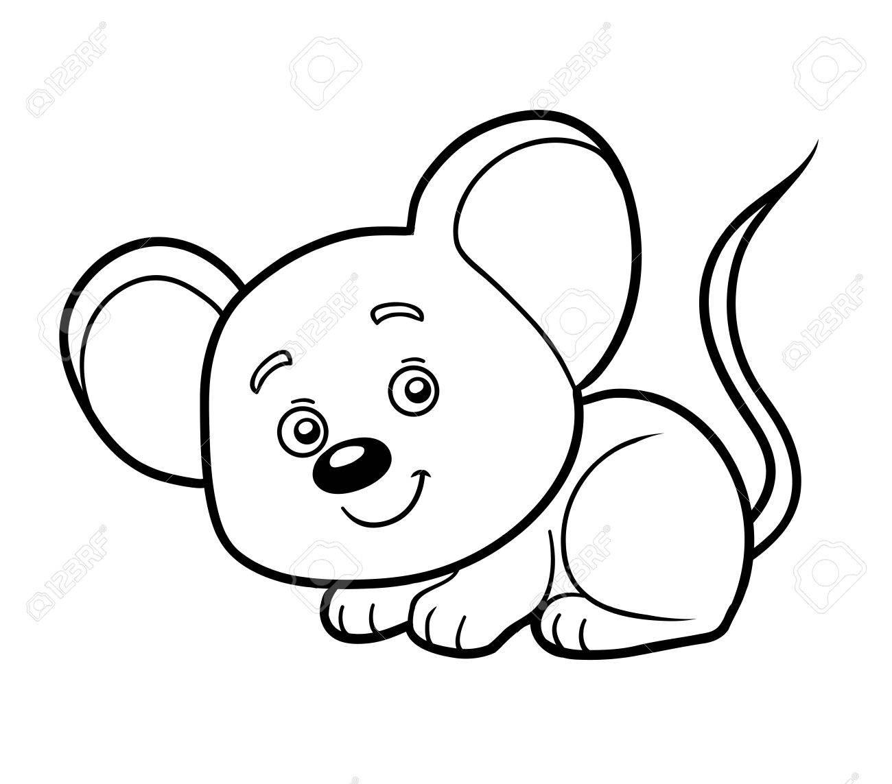Libro Para Colorear Para Los Niños (ratón) Ilustraciones Vectoriales ...