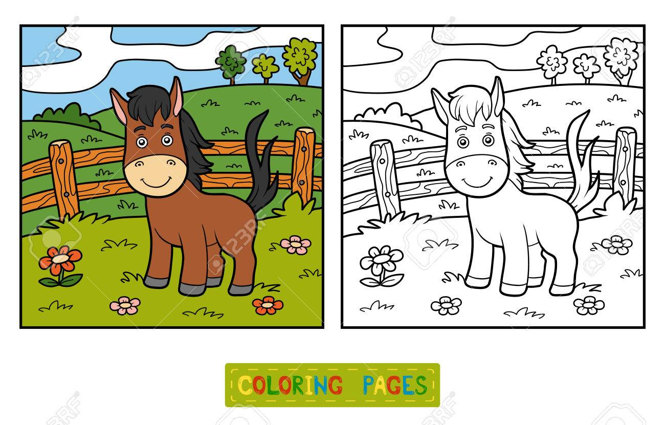 Coloring Book For Children (horse And Background) Royalty Free ...