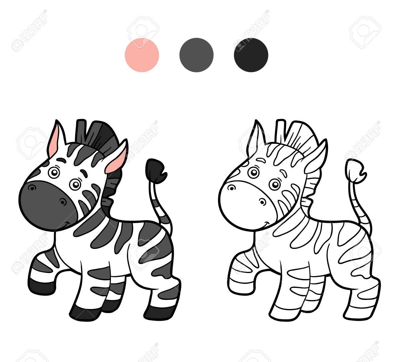 Libro Para Colorear Para Los Niños Cebra Ilustraciones Vectoriales