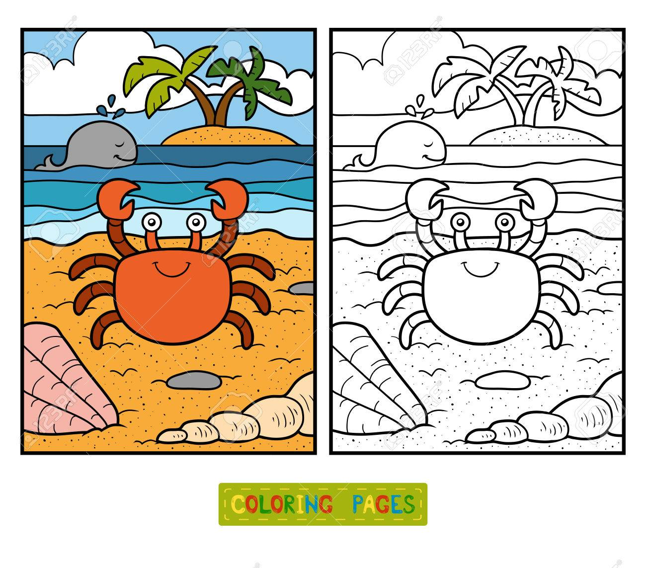 Coloring Book For Children With Cute Animals Crab And Background Stock Vector
