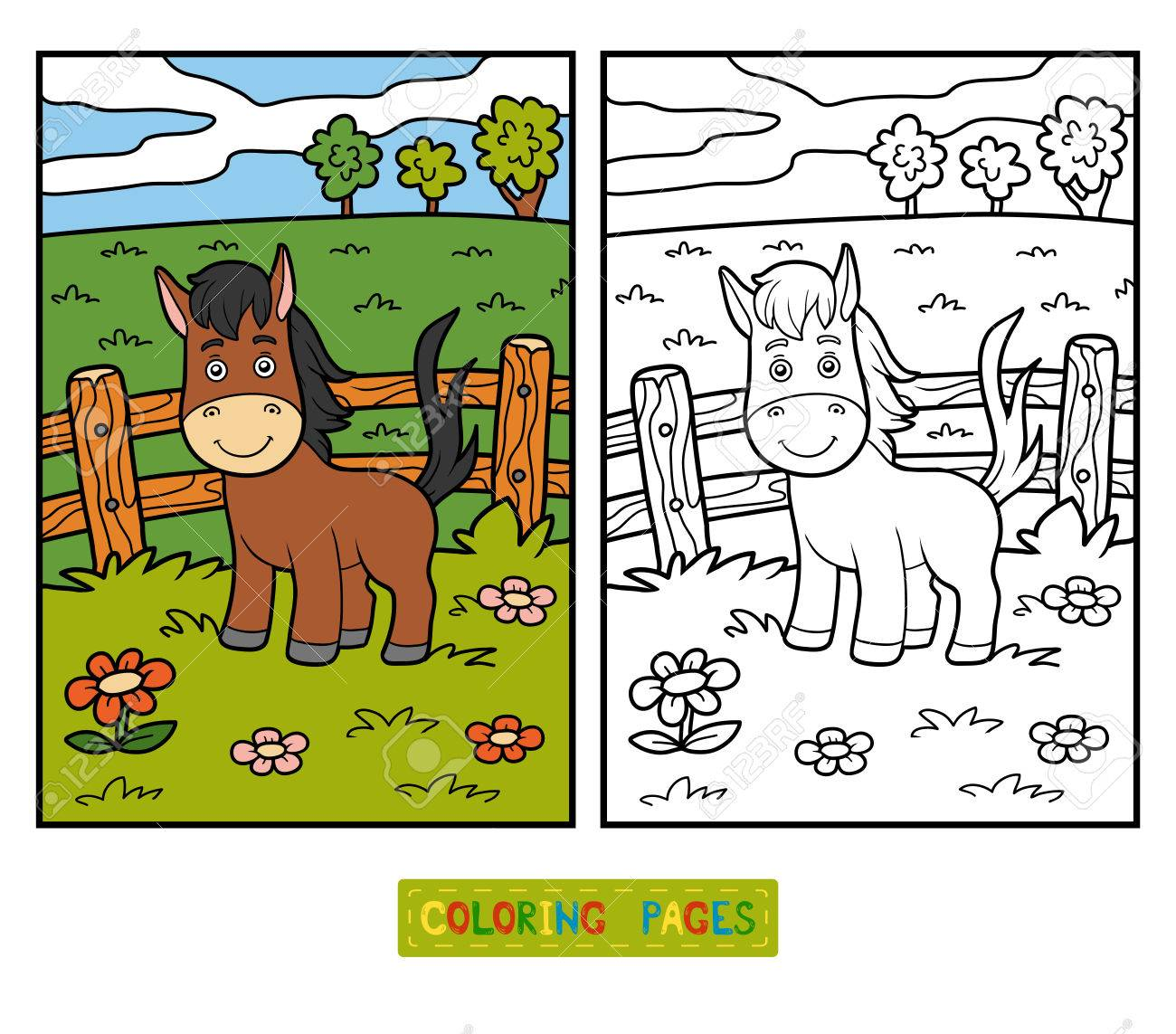 Coloring Book For Children With Cute Animals (horse And Background ...