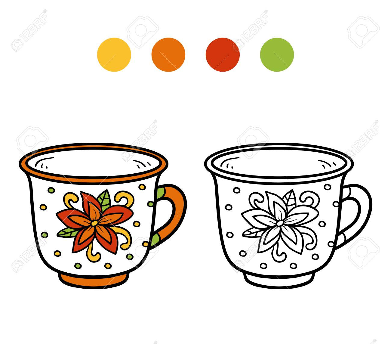 Coloring Book For Children, Vector Coloring Page. A Mug With ...