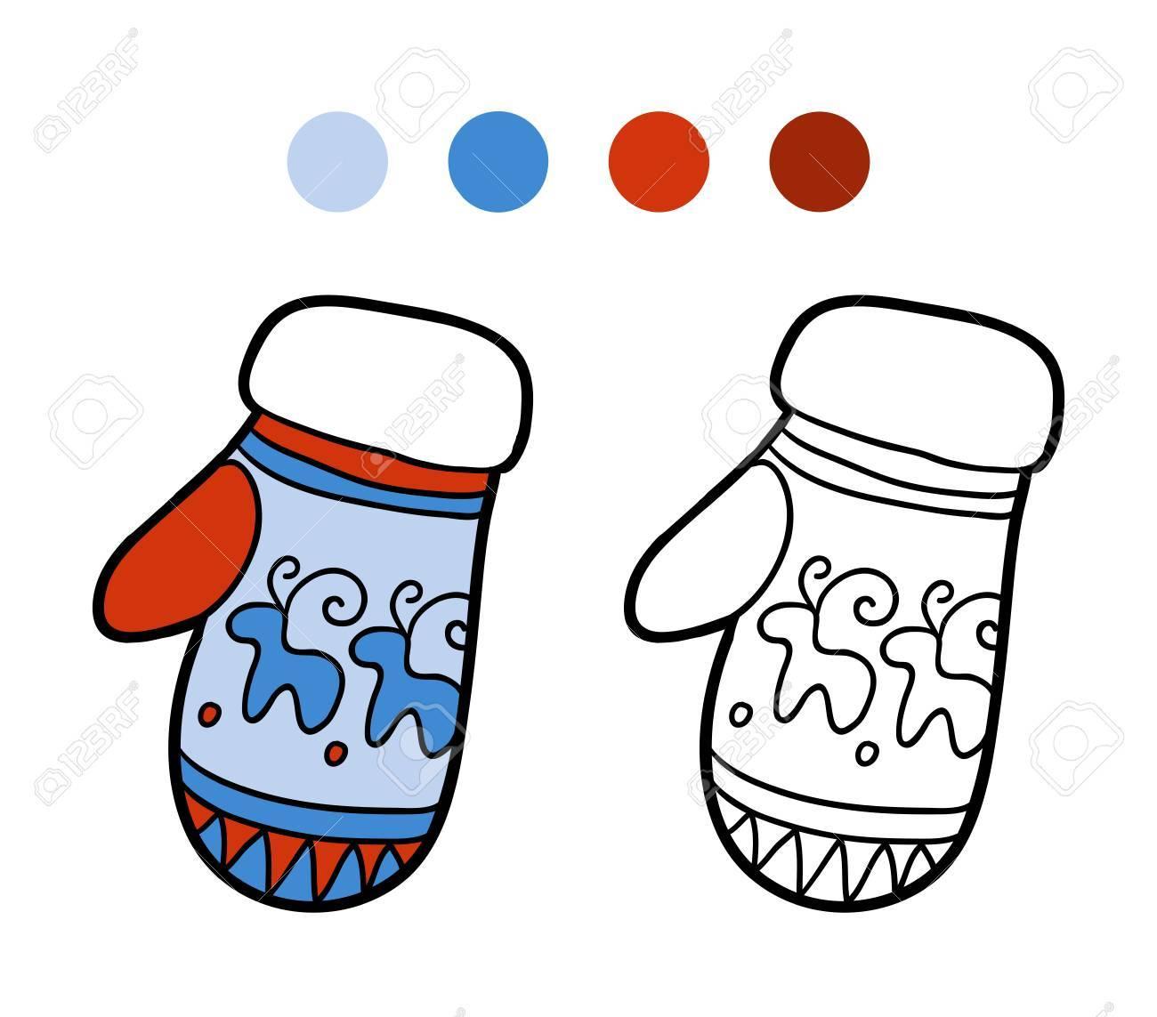 Livre De Coloriage Pour Les Enfants Coloriage Moufles Tricoté Avec