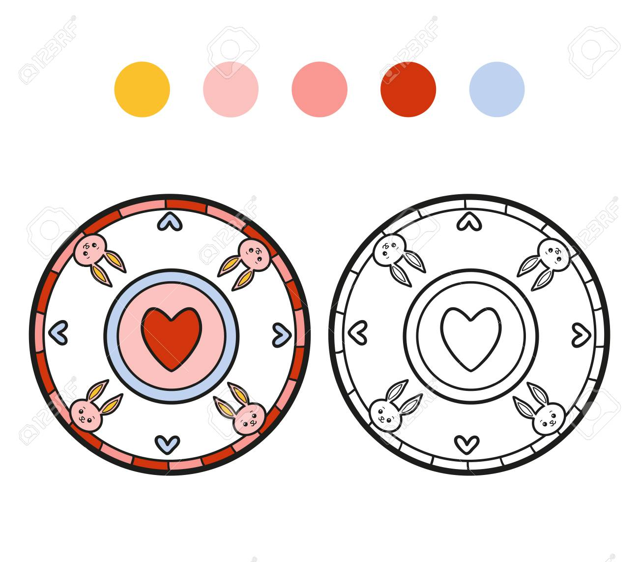 Libro Para Colorear Para Los Niños Para Colorear Página Del Vector Una Placa Con El Corazón
