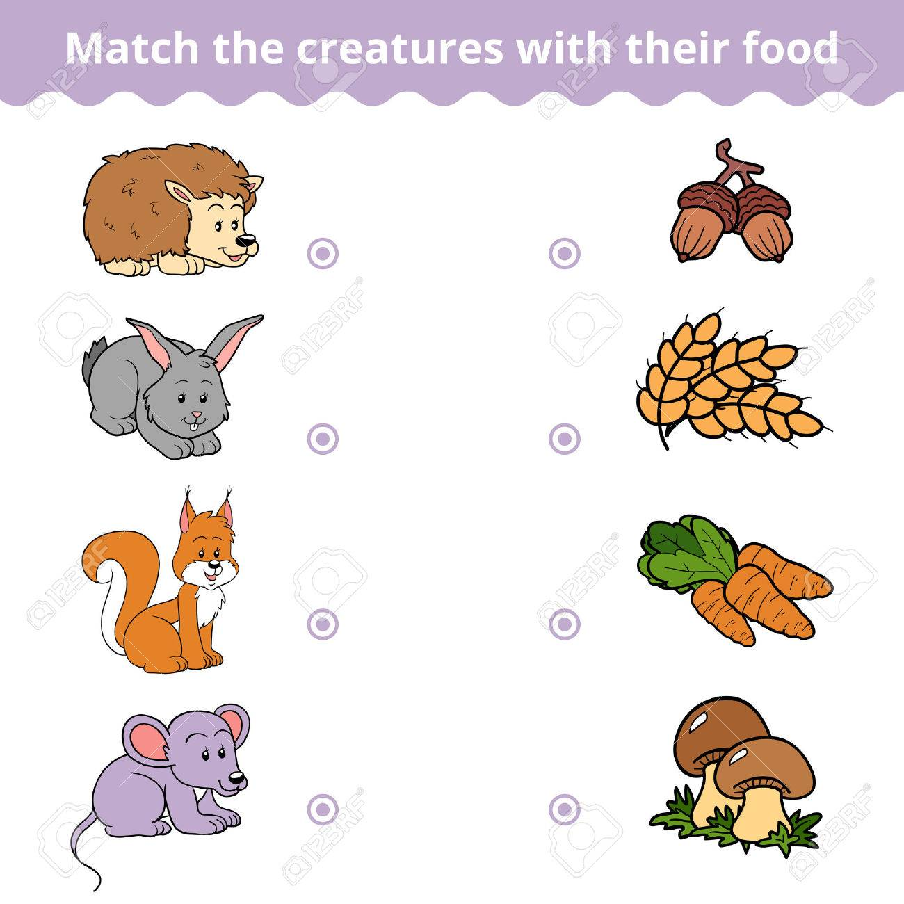 Matching game for children, vector education game (animals and favorite food) - 54591862