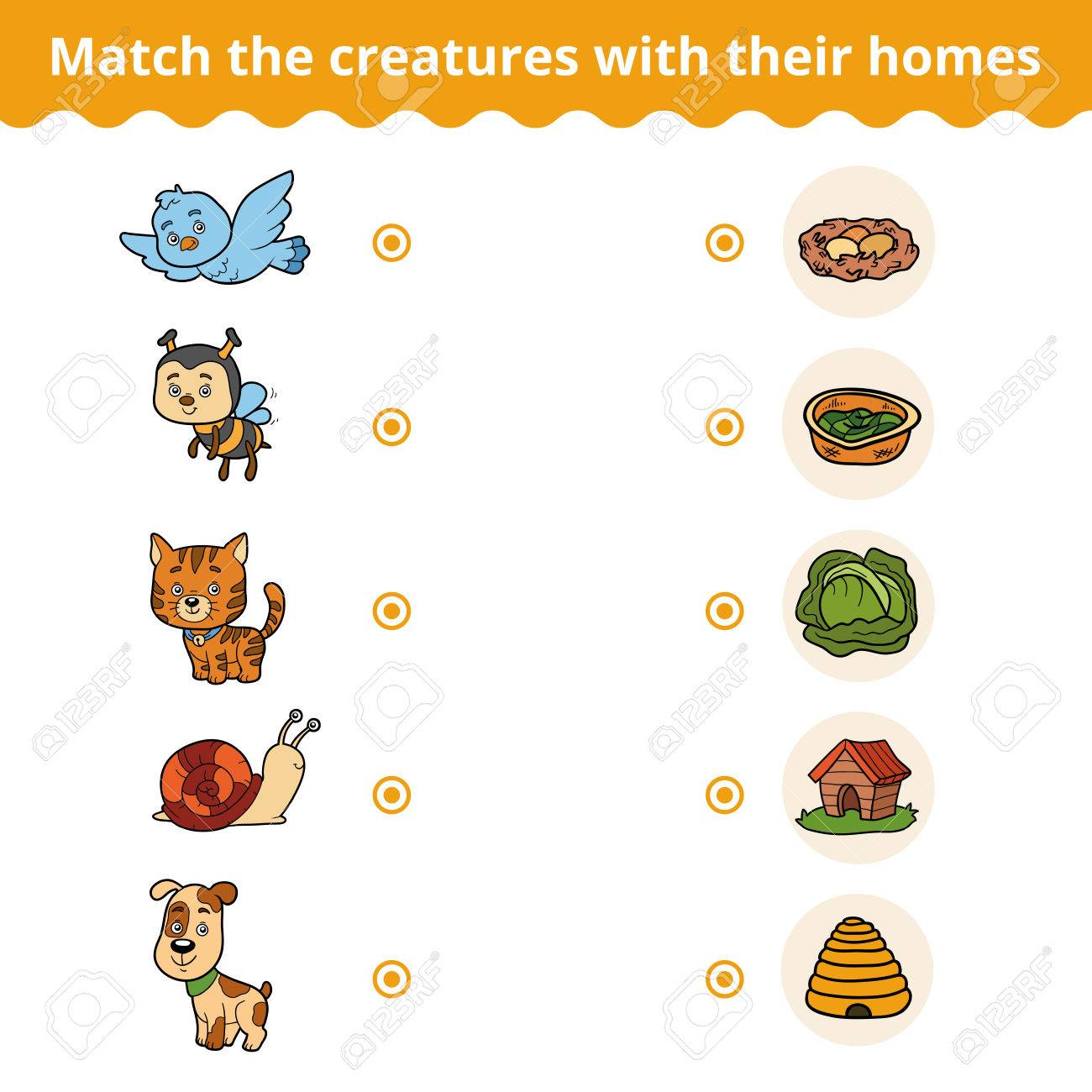 Matching game for children, vector education game (animals and