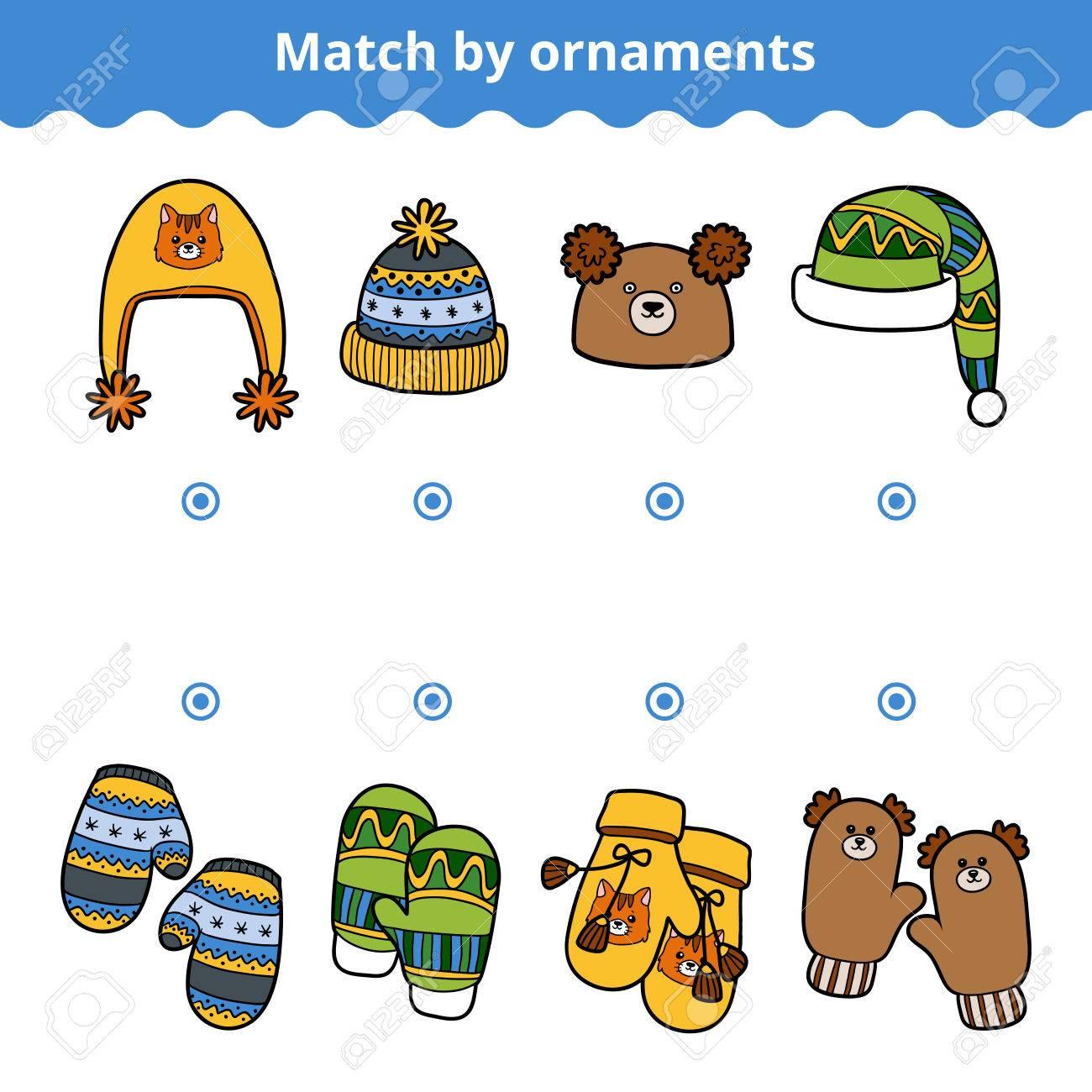 Matching-Spiel Für Kinder, Bildung Spiel. Passen Sie Die Fäustling ...