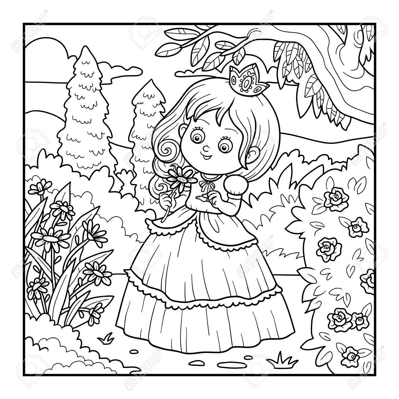 Malbuch Für Kinder, Kleine Prinzessin Mit Einer Blume Im Garten ...