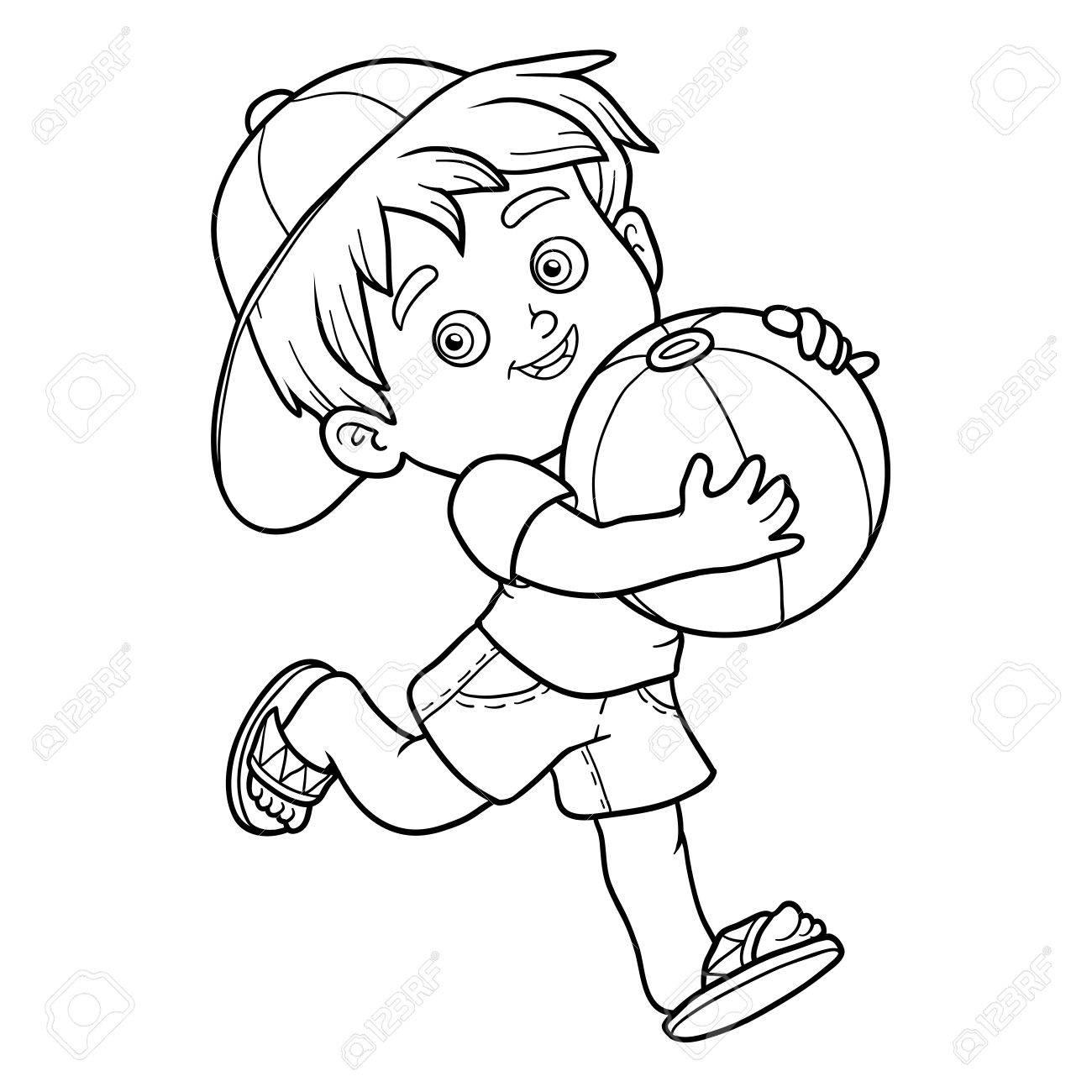 Livre A Colorier Pour Les Enfants Petit Garcon Avec Ballon Gonflable Clip Art Libres De Droits Vecteurs Et Illustration Image 56256076