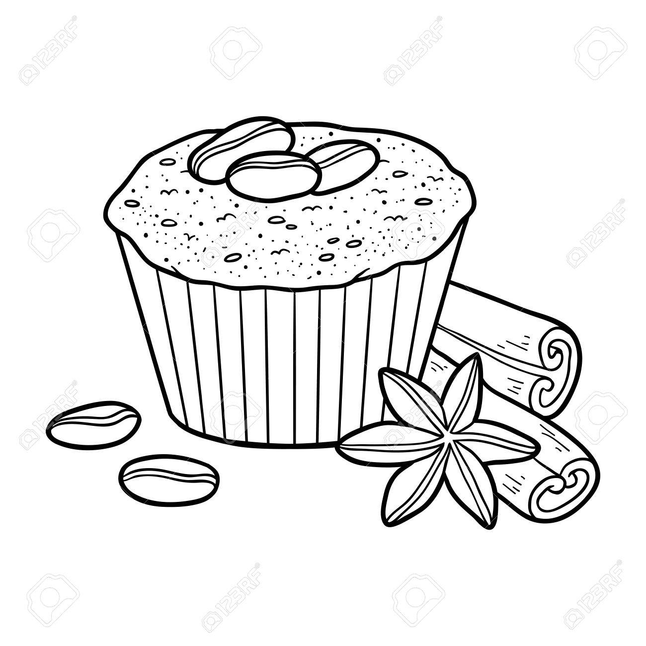 コーヒー豆とケーキをベクトル子どもの塗り絵のイラスト素材ベクタ