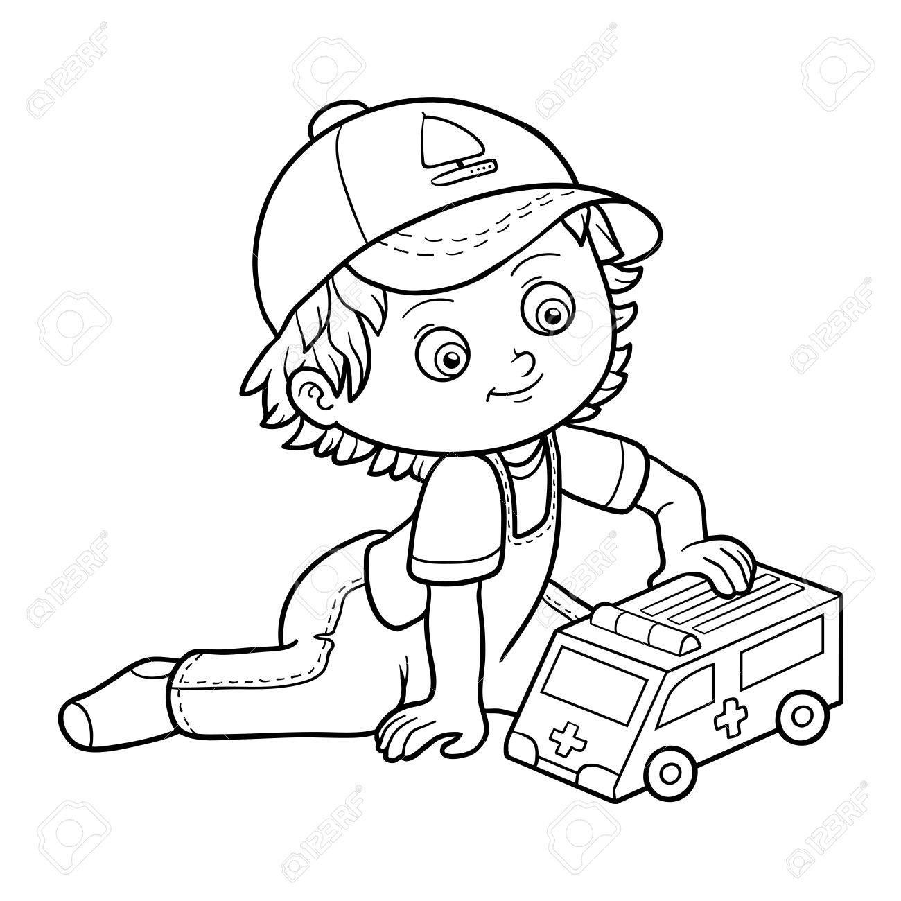 Livre A Colorier Pour Les Enfants Petit Garcon Joue Avec La Voiture D Ambulance Clip Art Libres De Droits Vecteurs Et Illustration Image 56256096