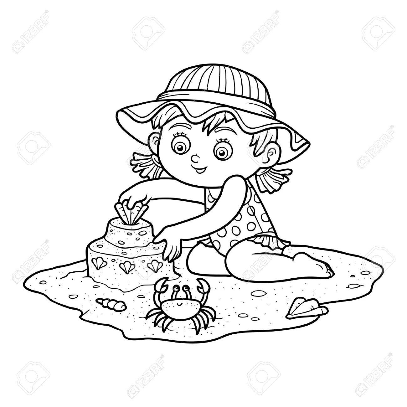 Coloring Book For Children Little Girl Builds A Sand Castle On The Beach Stock Vector