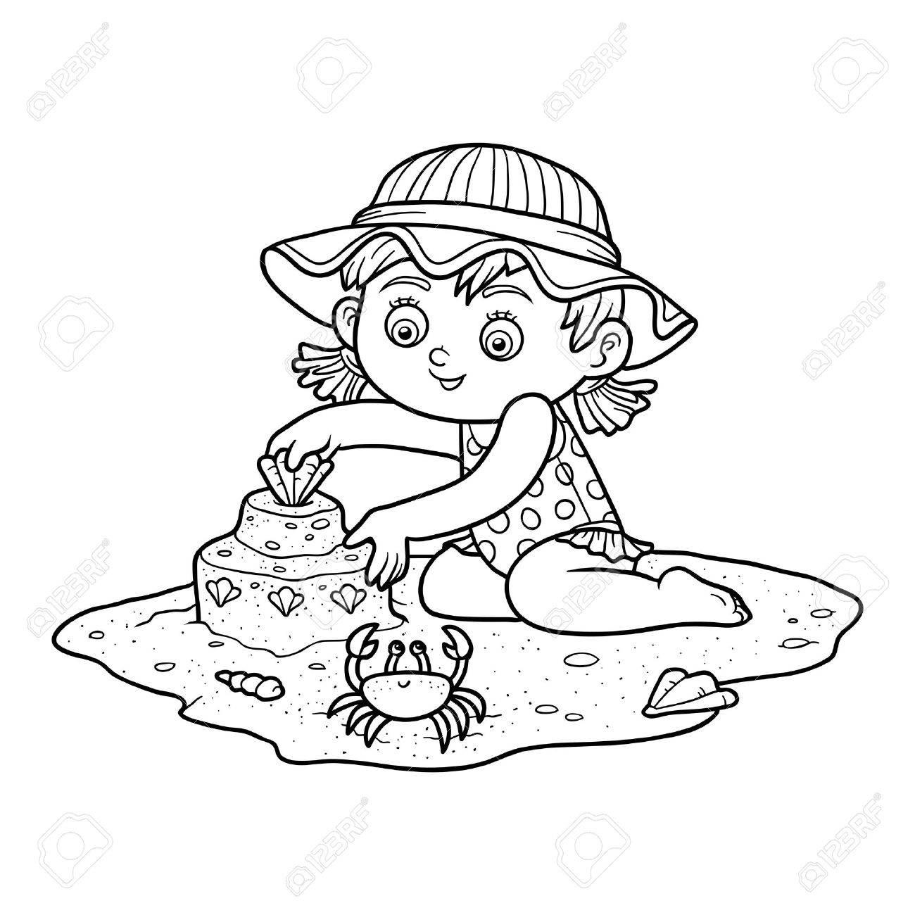 Malbuch Für Kinder. Kleines Mädchen Baut Eine Sandburg Am Strand ...