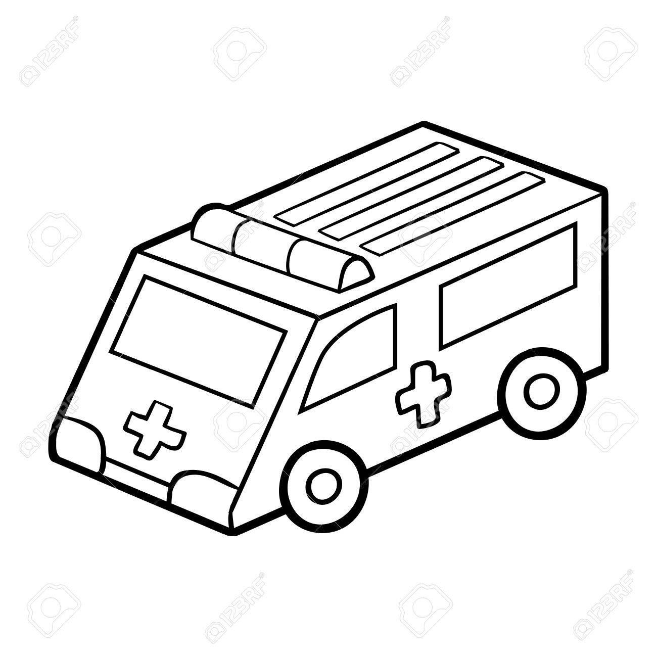 Malbuch Für Kinder, Malvorlagen. Krankenwagen Lizenzfrei Nutzbare ...
