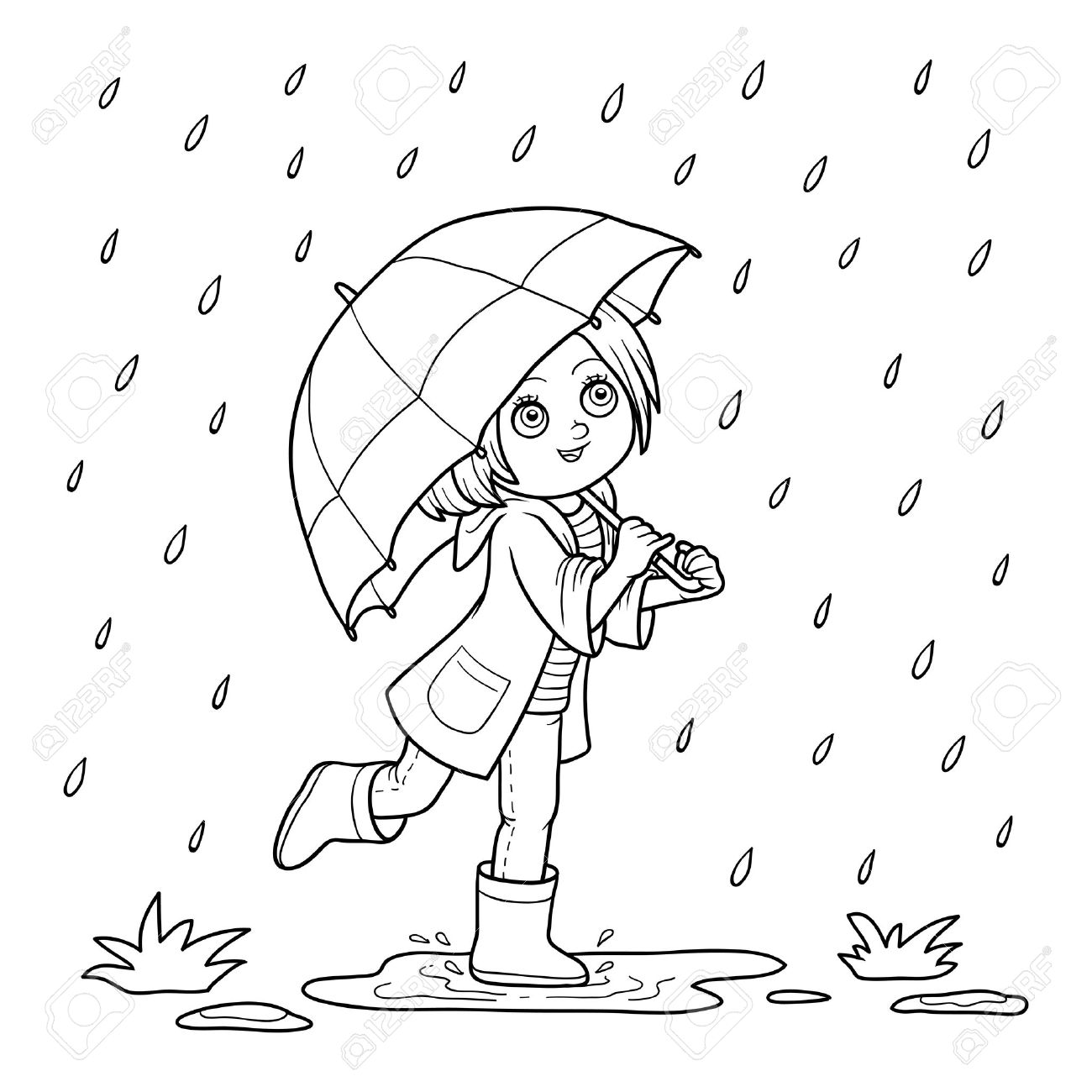 Coloring Book For Children Girl Running With An Umbrella In The Rain Stock Vector