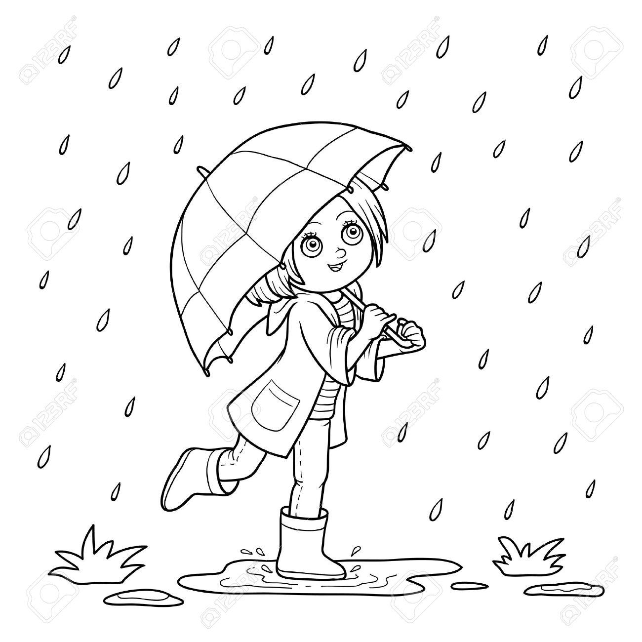 Coloriage Petite Fille Parapluie.Livre A Colorier Pour Les Enfants Fille Courir Avec Un Parapluie Sous La Pluie