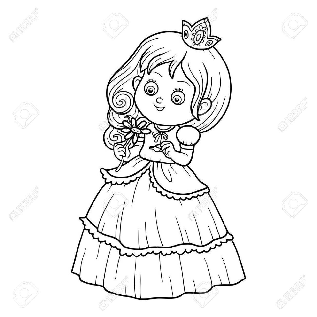 Libro Para Colorear Para Niños, Pequeña Princesa Con Una Flor ...