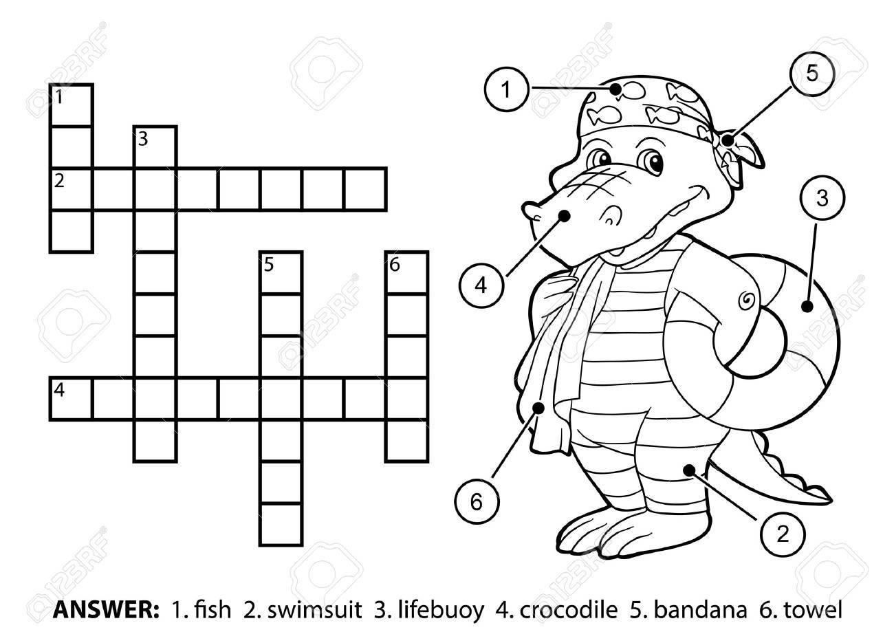 Vector Crucigrama Incoloro, Juego De La Educación Para Los Niños ...