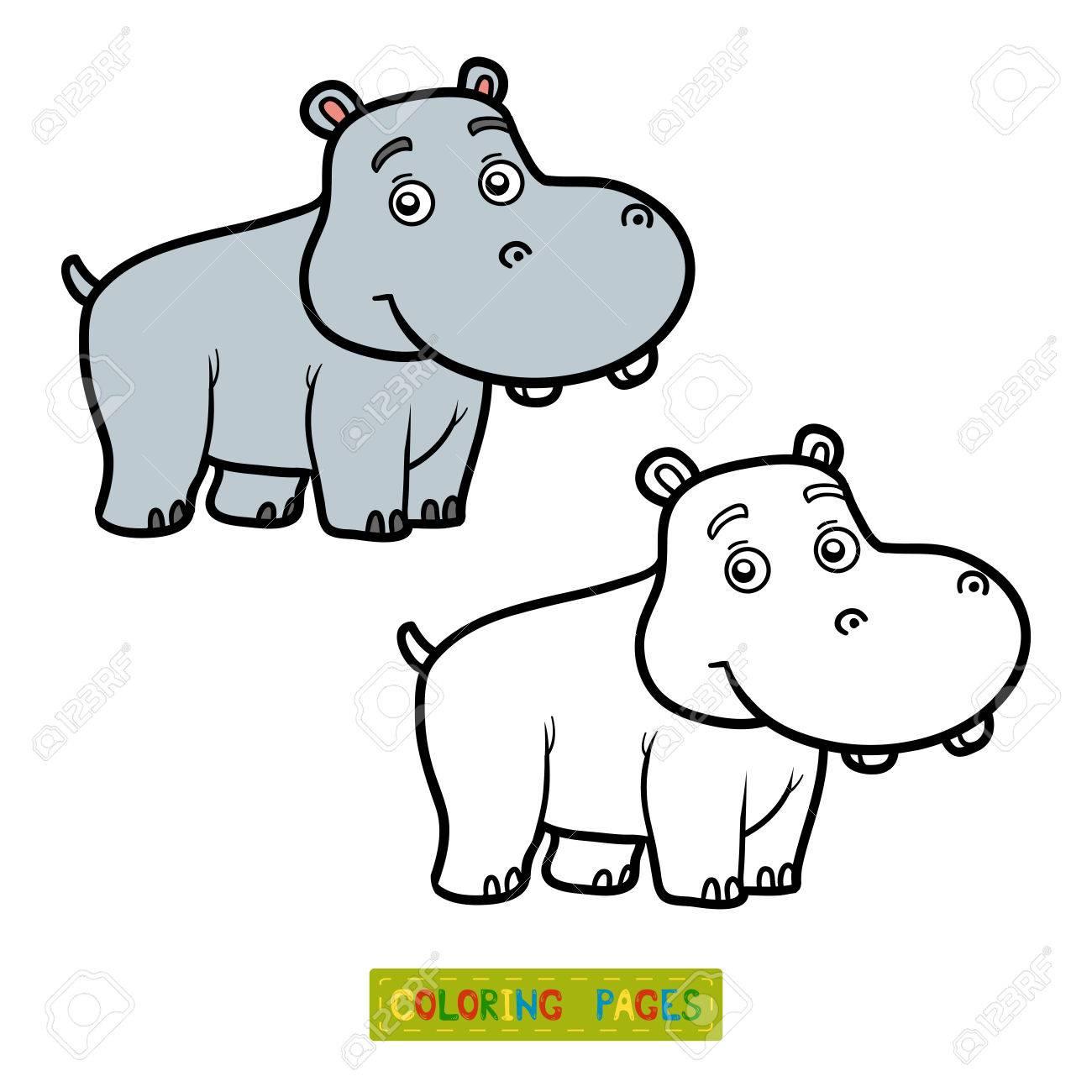 Libro Para Colorear Para Los Niños Para Colorear Con El Pequeño Hipopótamo