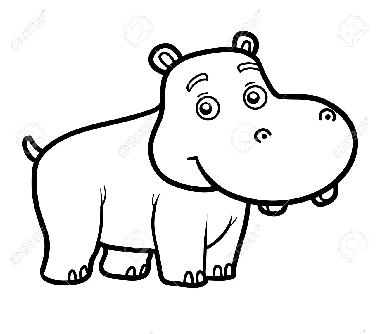coloring book for children coloring page with little hippo stock vector 57730767 - Children Coloring Pictures
