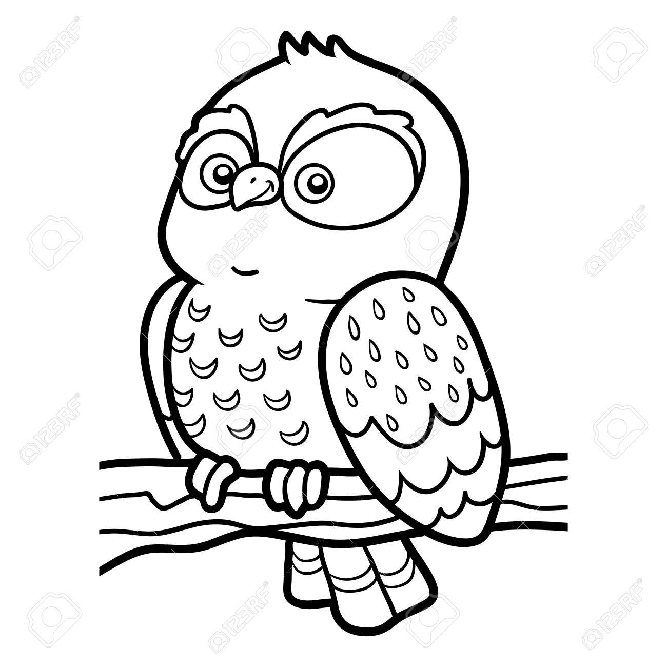 Coloring Book For Children, Coloring Page With Little Owl Royalty ...