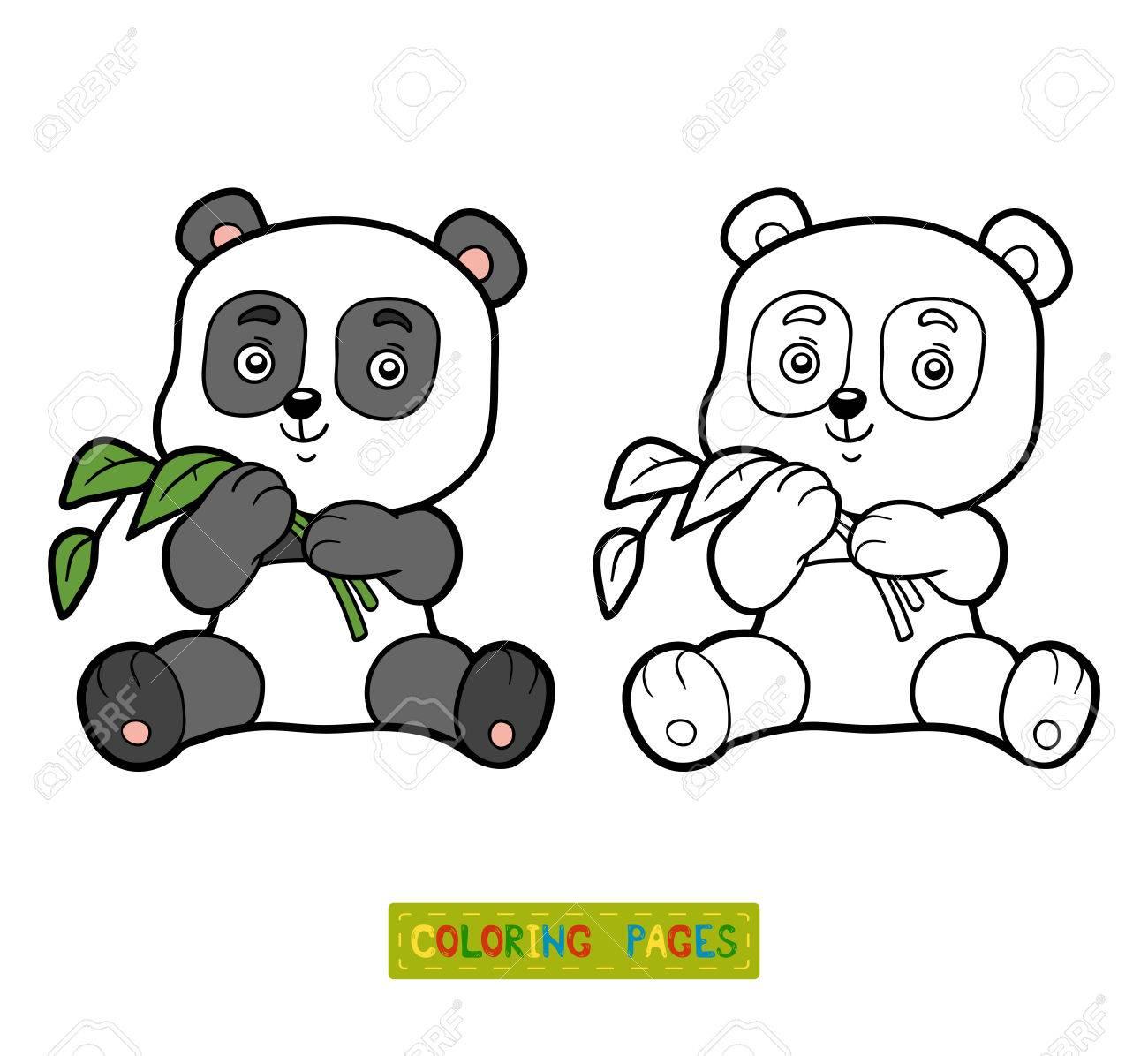子供用の小さなパンダのぬりえ塗り絵のイラスト素材ベクタ Image