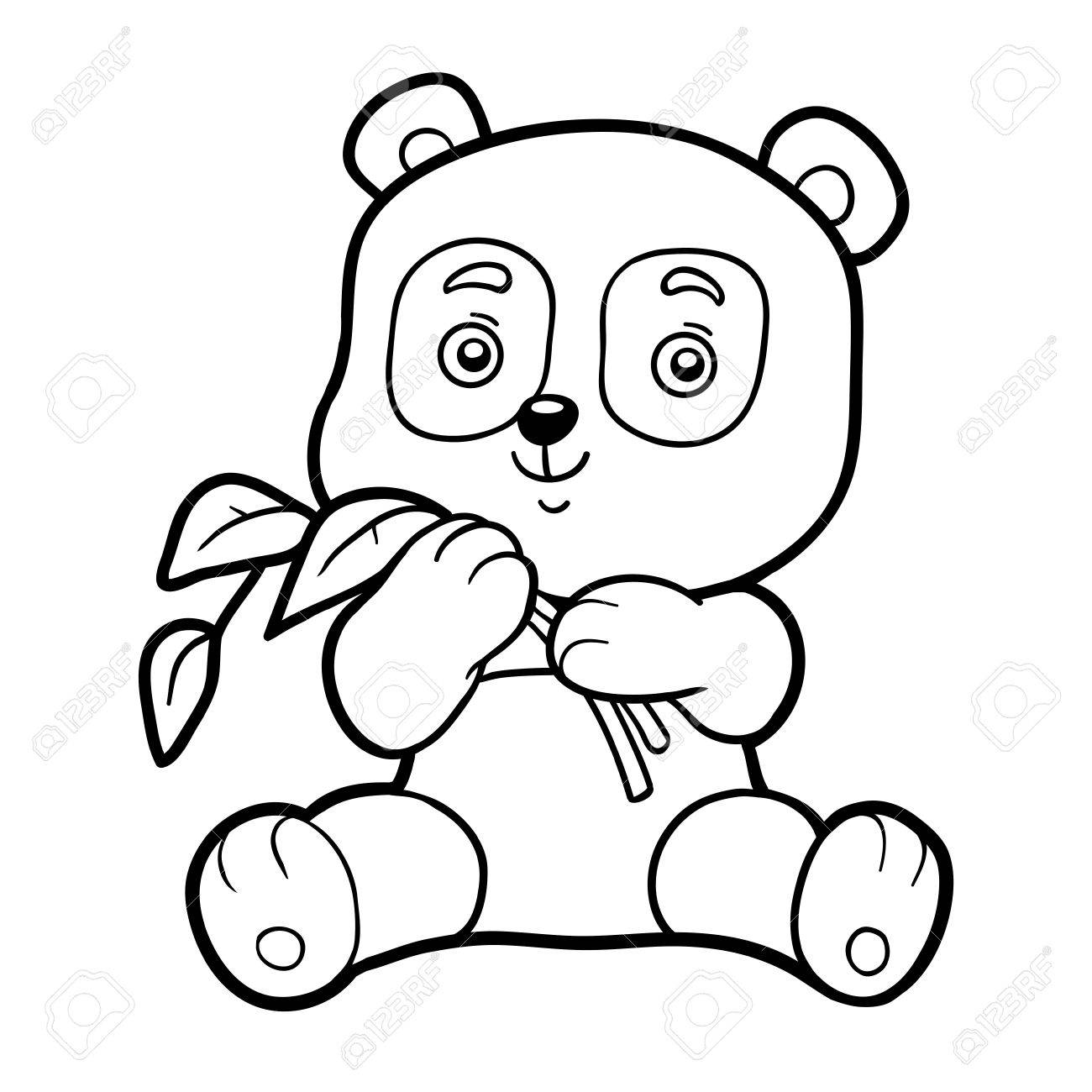 Coloring Book For Children, Coloring Page With Little Panda Royalty ...