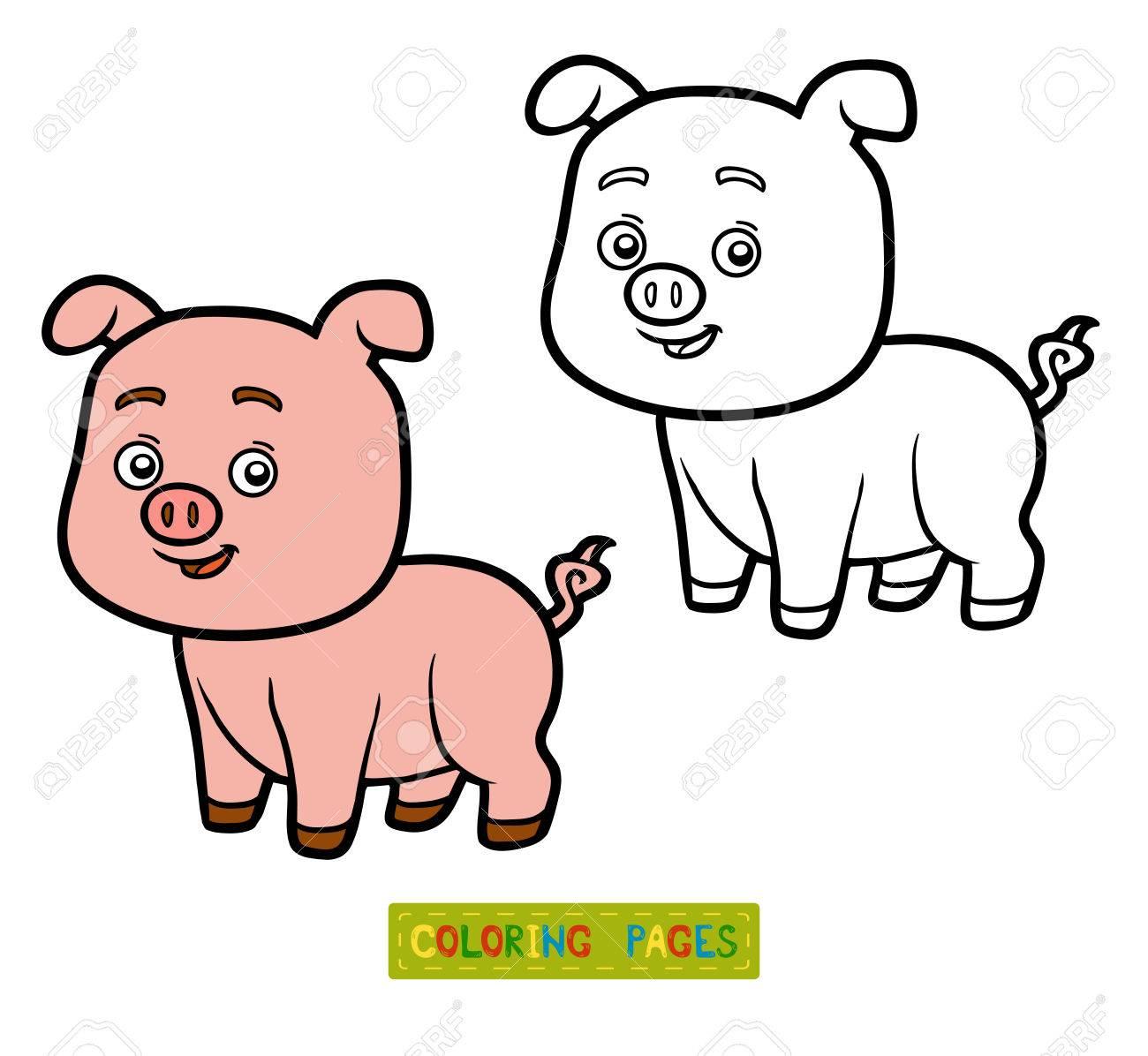 Malbuch Für Kinder, Malvorlagen Mit Schweinchen Lizenzfrei Nutzbare ...