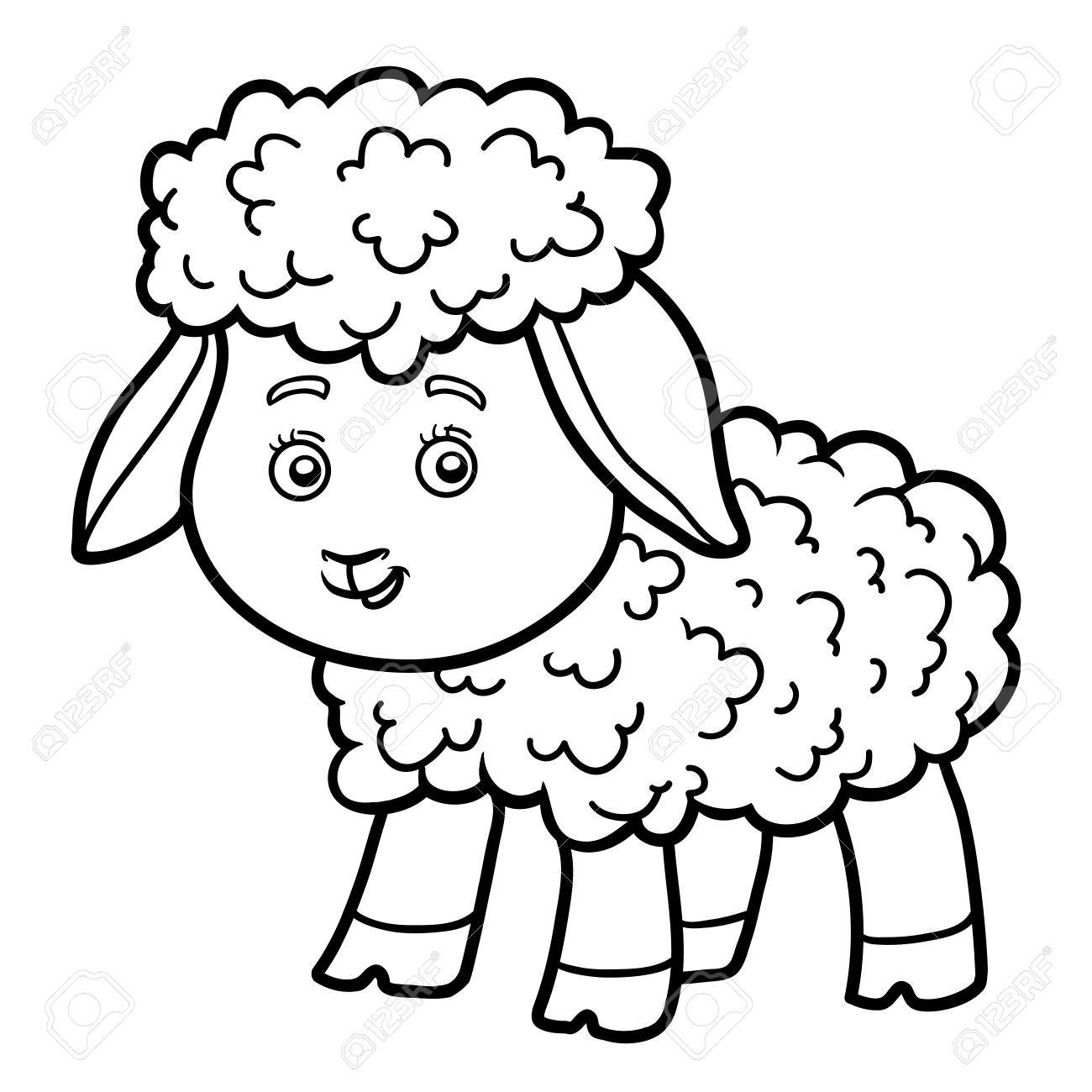 Coloring Book For Chilren, Coloring Page With Little Sheep Royalty ...