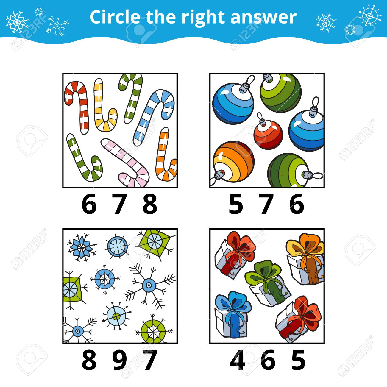 Counting Game for Preschool Children. How many objects on the picture, education game about the Christmas - 59235489