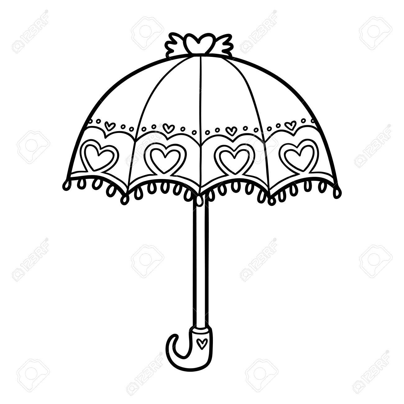 Coloring Book For Children Cute Umbrella
